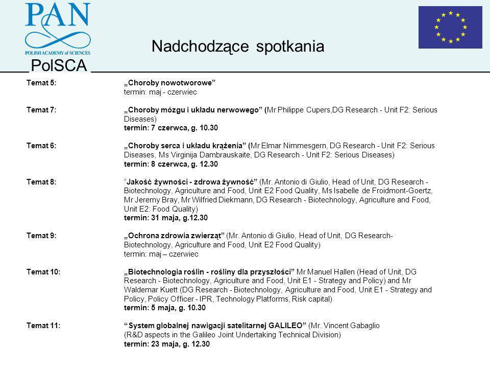 PolSCA Temat 5:Choroby nowotworowe termin: maj - czerwiec Temat 7:Choroby mózgu i układu nerwowego (Mr Philippe Cupers,DG Research - Unit F2: Serious