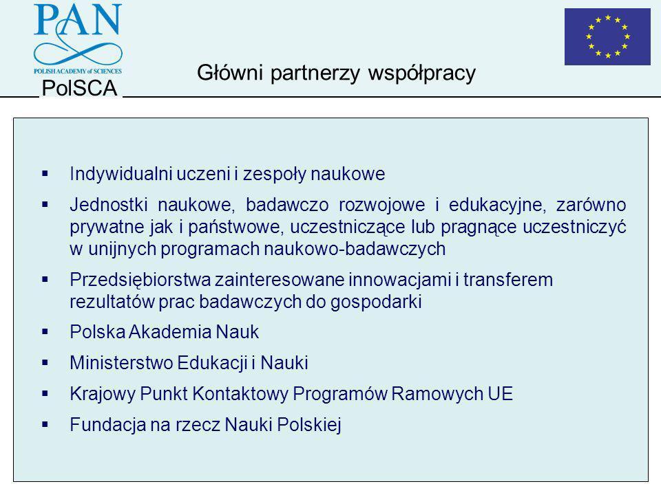 PolSCA Doradztwo i pomoc w procesie przygotowania i prezentacji ważniejszych projektów naukowych z polskim udziałem Dostarczanie niezbędnych informacji polskim uczestnikom Programów Ramowych UE Monitoring i analiza polityki naukowo-technicznej UE Dostarczanie potrzebnych informacji i pomoc klientom Biura, polskim członkom organów i ciał doradczych UE oraz zainteresowanym politykom Organizowanie spotkań, seminariów i konferencji promocyjnych Działalność promocyjna Biura PolSCA