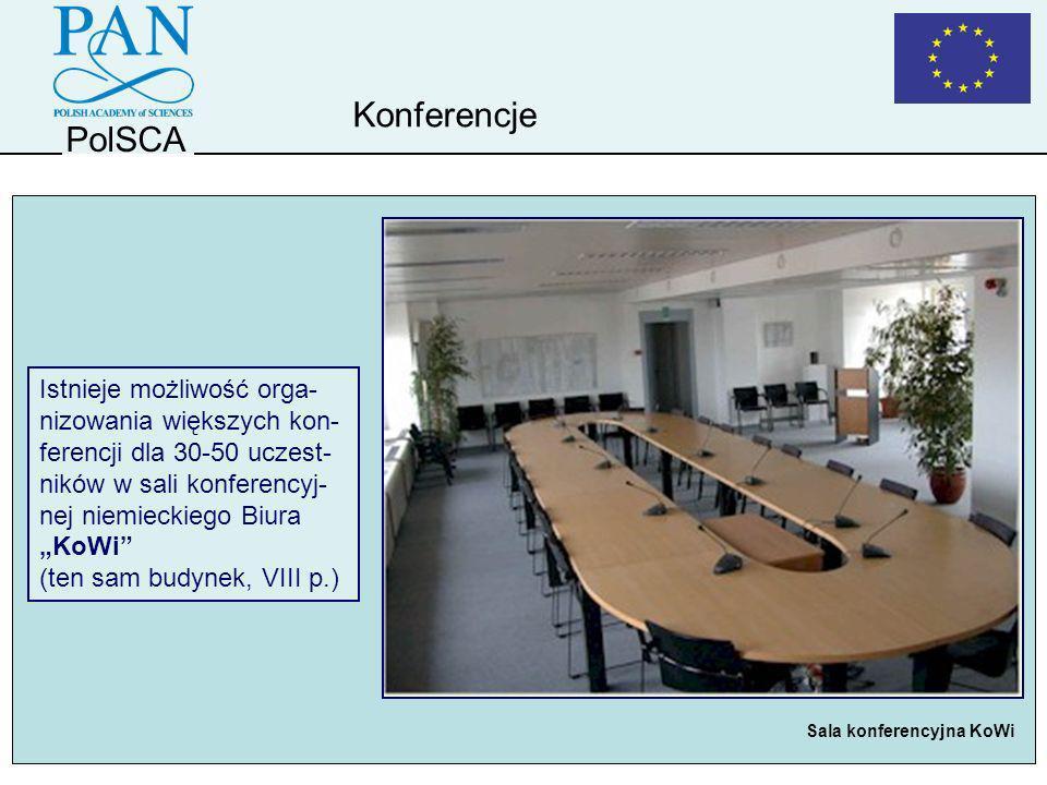 PolSCA Konferencje Istnieje możliwość orga- nizowania większych kon- ferencji dla 30-50 uczest- ników w sali konferencyj- nej niemieckiego Biura KoWi