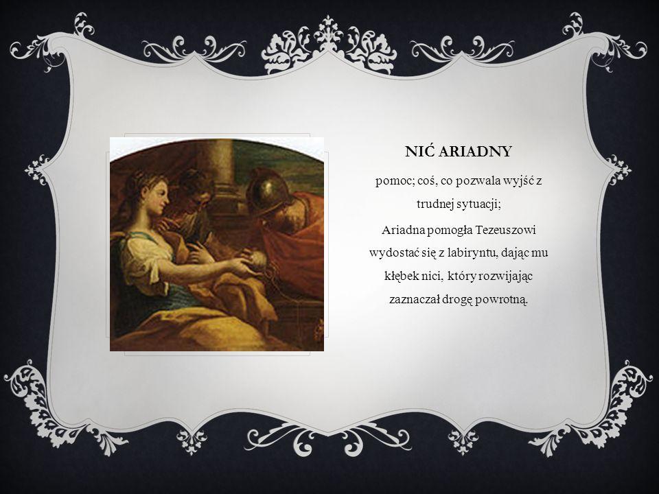 NIĆ ARIADNY pomoc; coś, co pozwala wyjść z trudnej sytuacji; Ariadna pomogła Tezeuszowi wydostać się z labiryntu, dając mu kłębek nici, który rozwijaj