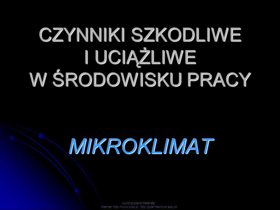 CZYNNIKI SZKODLIWE I UCIĄŻLIWE W ŚRODOWISKU PRACY MIKROKLIMAT wykorzystano materiały: Internet: http://www.ciop.pl, http://graf.mech.pk.edu.pl/