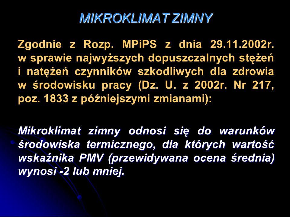MIKROKLIMAT ZIMNY Zgodnie z Rozp. MPiPS z dnia 29.11.2002r. w sprawie najwyższych dopuszczalnych stężeń i natężeń czynników szkodliwych dla zdrowia w