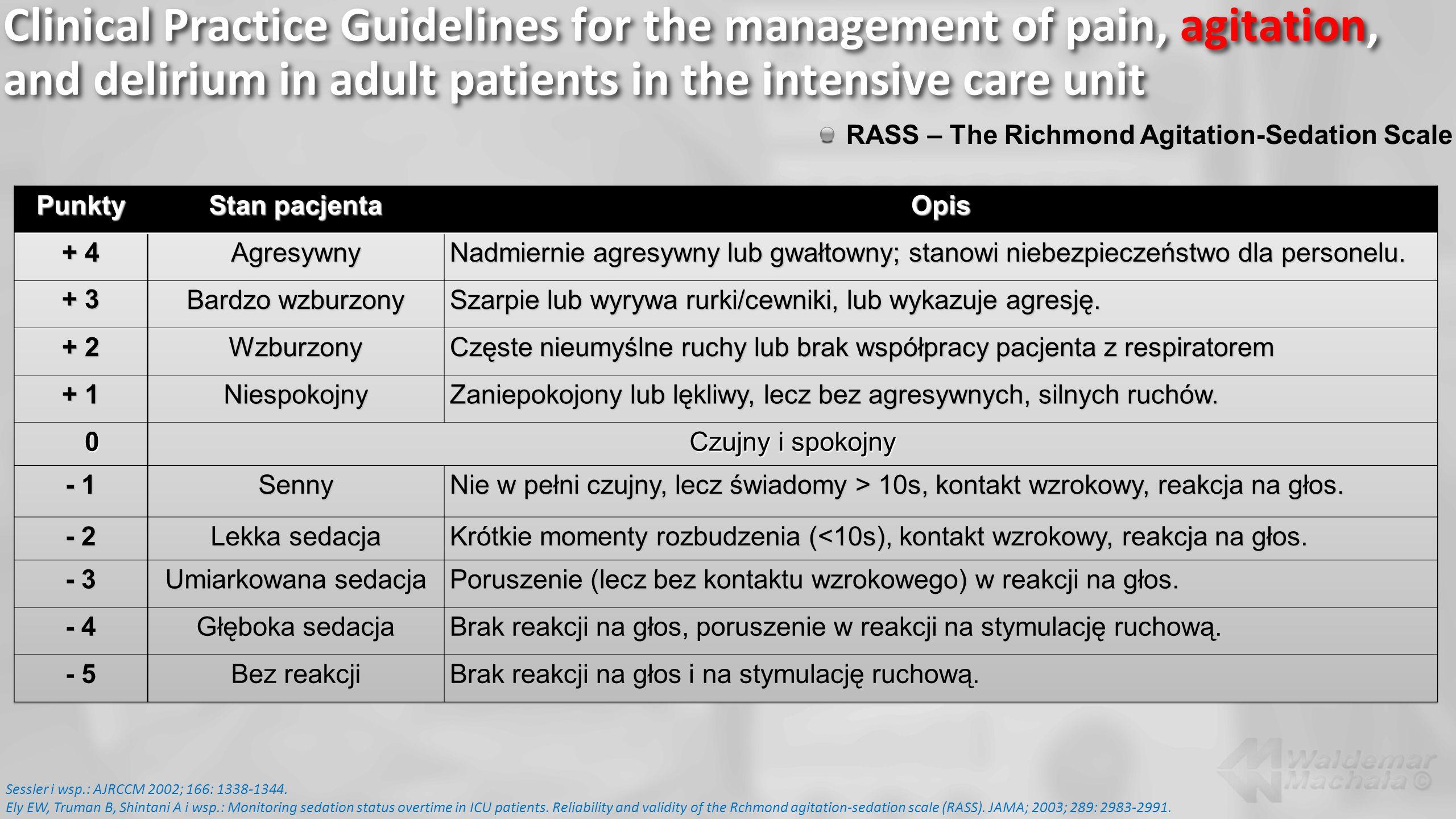 RASS – The Richmond Agitation-Sedation Scale Sessler i wsp.: AJRCCM 2002; 166: 1338-1344. Ely EW, Truman B, Shintani A i wsp.: Monitoring sedation sta