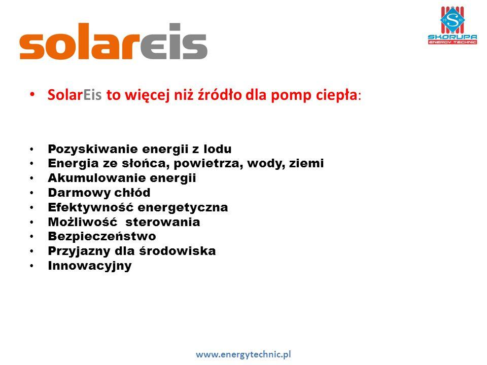 SolarEis to więcej niż źródło dla pomp ciepła : Pozyskiwanie energii z lodu Energia ze słońca, powietrza, wody, ziemi Akumulowanie energii Darmowy chłód Efektywność energetyczna Możliwość sterowania Bezpieczeństwo Przyjazny dla środowiska Innowacyjny www.energytechnic.pl