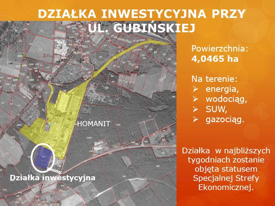 Działka inwestycyjna HOMANIT Powierzchnia: 4,0465 ha Na terenie: energia, wodociąg, SUW, gazociąg.