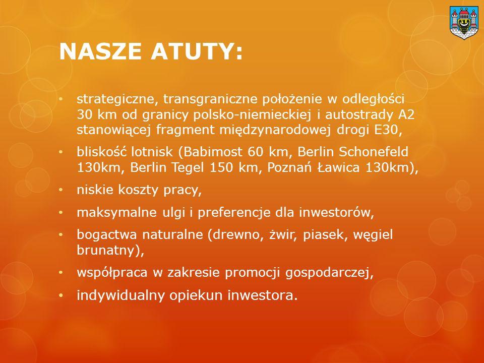 NASZE ATUTY: strategiczne, transgraniczne położenie w odległości 30 km od granicy polsko-niemieckiej i autostrady A2 stanowiącej fragment międzynarodowej drogi E30, bliskość lotnisk (Babimost 60 km, Berlin Schonefeld 130km, Berlin Tegel 150 km, Poznań Ławica 130km), niskie koszty pracy, maksymalne ulgi i preferencje dla inwestorów, bogactwa naturalne (drewno, żwir, piasek, węgiel brunatny), współpraca w zakresie promocji gospodarczej, indywidualny opiekun inwestora.
