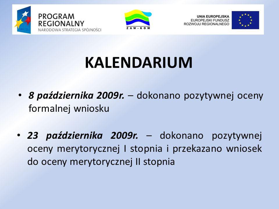 23 października 2009r. – dokonano pozytywnej oceny merytorycznej I stopnia i przekazano wniosek do oceny merytorycznej II stopnia 8 października 2009r