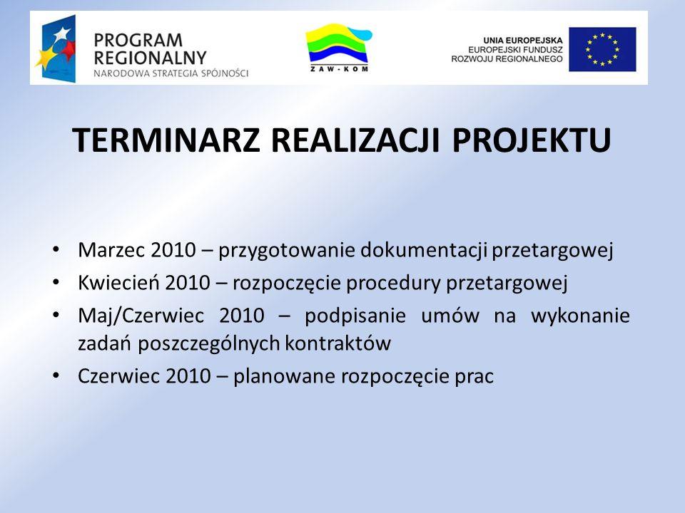 TERMINARZ REALIZACJI PROJEKTU Marzec 2010 – przygotowanie dokumentacji przetargowej Kwiecień 2010 – rozpoczęcie procedury przetargowej Maj/Czerwiec 20