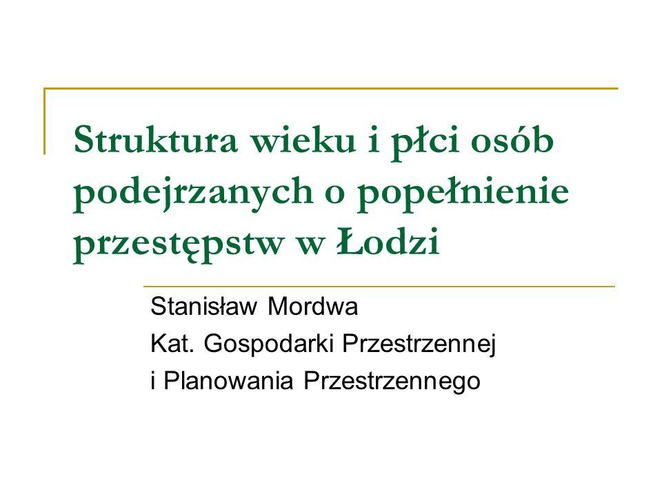 Struktura wieku i płci osób podejrzanych o popełnienie przestępstw w Łodzi Stanisław Mordwa Kat. Gospodarki Przestrzennej i Planowania Przestrzennego