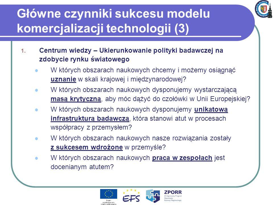 Główne czynniki sukcesu modelu komercjalizacji technologii (3) 1. Centrum wiedzy – Ukierunkowanie polityki badawczej na zdobycie rynku światowego W kt