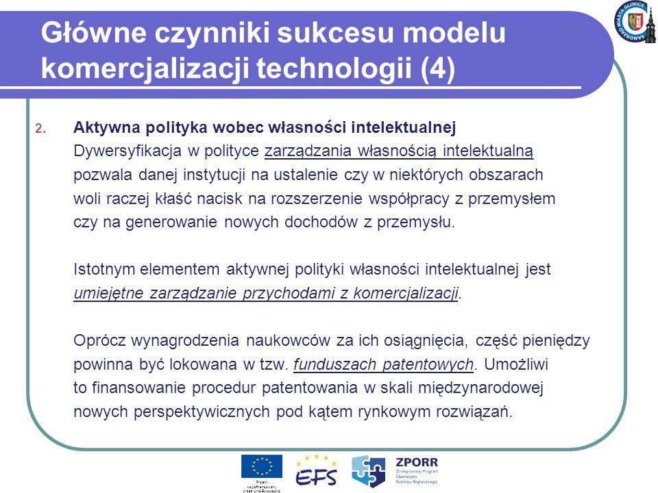 Główne czynniki sukcesu modelu komercjalizacji technologii (4) 2. Aktywna polityka wobec własności intelektualnej Dywersyfikacja w polityce zarządzani