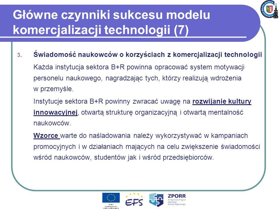 Główne czynniki sukcesu modelu komercjalizacji technologii (7) 3. Świadomość naukowców o korzyściach z komercjalizacji technologii Każda instytucja se
