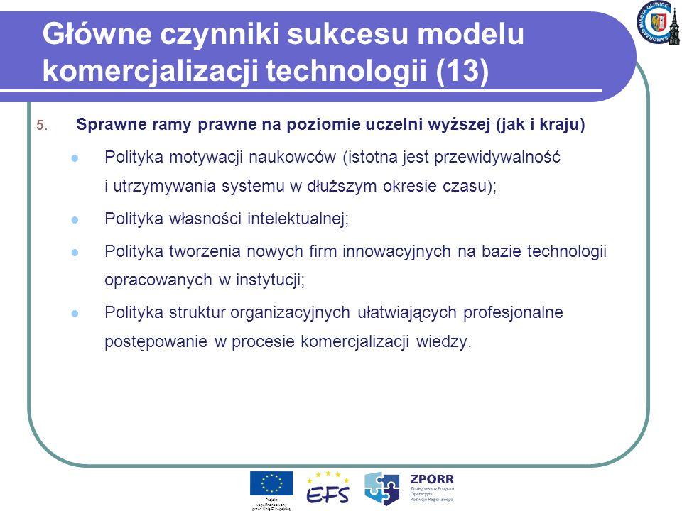 Główne czynniki sukcesu modelu komercjalizacji technologii (13) 5. Sprawne ramy prawne na poziomie uczelni wyższej (jak i kraju) Polityka motywacji na