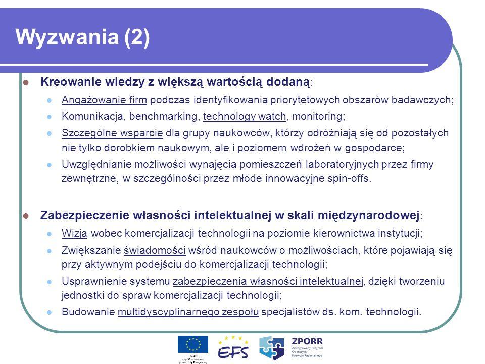 Wyzwania (2) Kreowanie wiedzy z większą wartością dodaną : Angażowanie firm podczas identyfikowania priorytetowych obszarów badawczych; Komunikacja, b