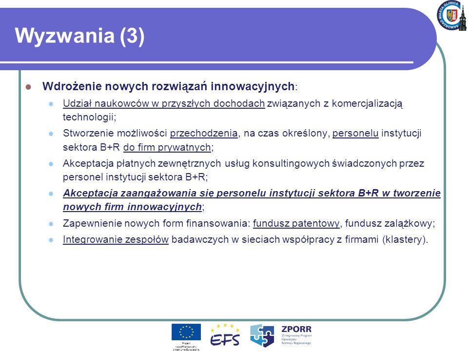 Wyzwania (3) Wdrożenie nowych rozwiązań innowacyjnych : Udział naukowców w przyszłych dochodach związanych z komercjalizacją technologii; Stworzenie m