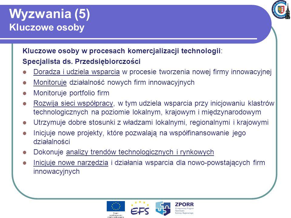 Wyzwania (5) Kluczowe osoby Kluczowe osoby w procesach komercjalizacji technologii: Specjalista ds.