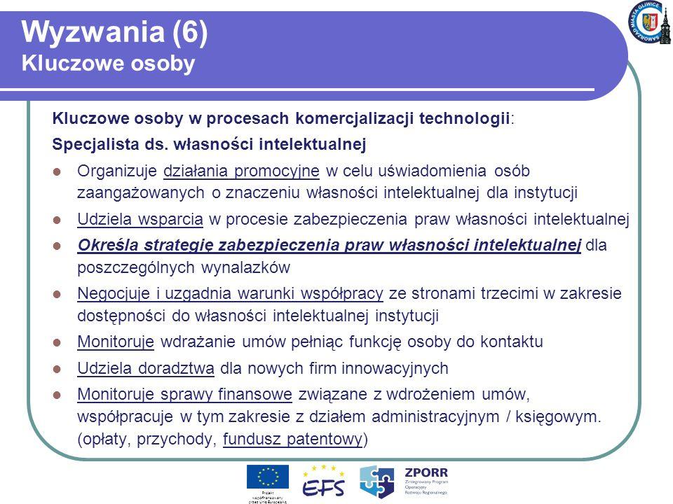 Wyzwania (6) Kluczowe osoby Kluczowe osoby w procesach komercjalizacji technologii: Specjalista ds. własności intelektualnej Organizuje działania prom