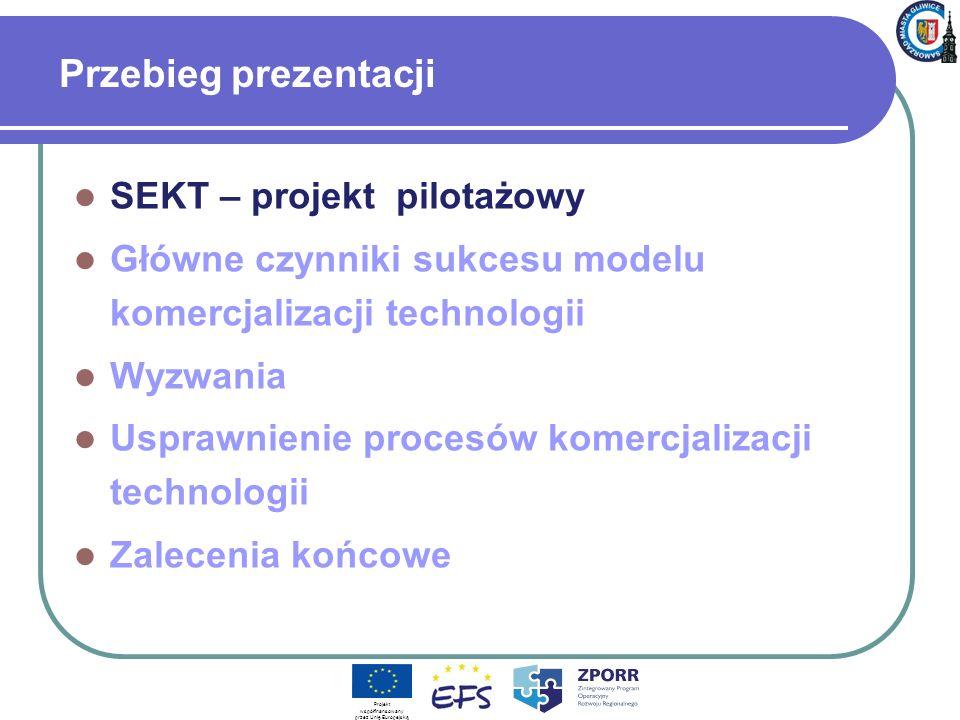 Przebieg prezentacji SEKT – projekt pilotażowy Główne czynniki sukcesu modelu komercjalizacji technologii Wyzwania Usprawnienie procesów komercjalizac