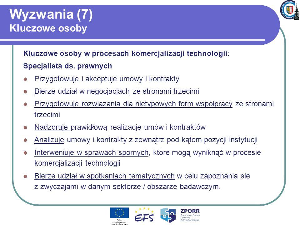 Wyzwania (7) Kluczowe osoby Kluczowe osoby w procesach komercjalizacji technologii: Specjalista ds.
