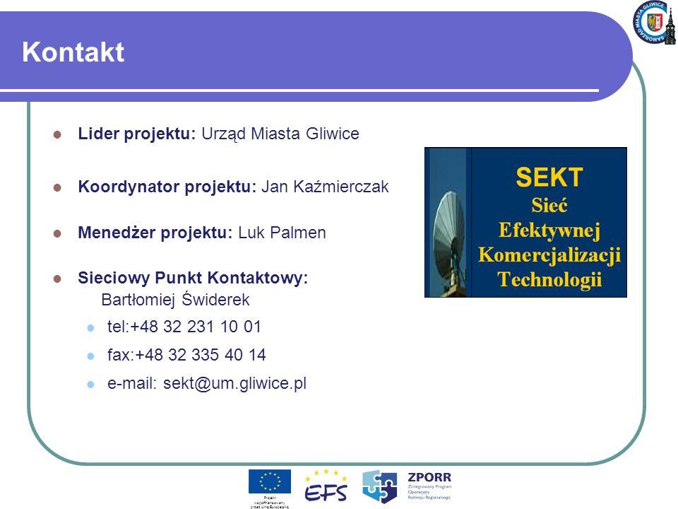 Kontakt Lider projektu: Urząd Miasta Gliwice Koordynator projektu: Jan Kaźmierczak Menedżer projektu: Luk Palmen Sieciowy Punkt Kontaktowy: Bartłomiej Świderek tel:+48 32 231 10 01 fax:+48 32 335 40 14 e-mail: sekt@um.gliwice.pl Projekt współfinansowany przez Unię Europejską