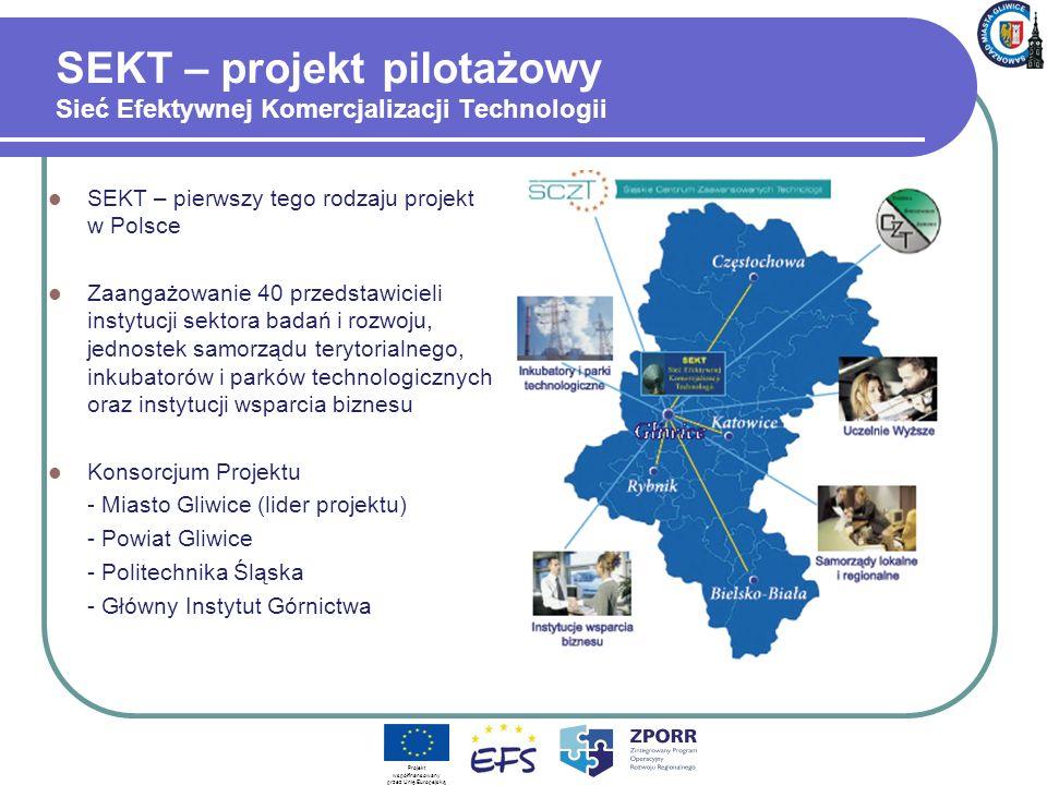 SEKT – projekt pilotażowy Sieć Efektywnej Komercjalizacji Technologii SEKT – pierwszy tego rodzaju projekt w Polsce Zaangażowanie 40 przedstawicieli instytucji sektora badań i rozwoju, jednostek samorządu terytorialnego, inkubatorów i parków technologicznych oraz instytucji wsparcia biznesu Konsorcjum Projektu - Miasto Gliwice (lider projektu) - Powiat Gliwice - Politechnika Śląska - Główny Instytut Górnictwa Projekt współfinansowany przez Unię Europejską