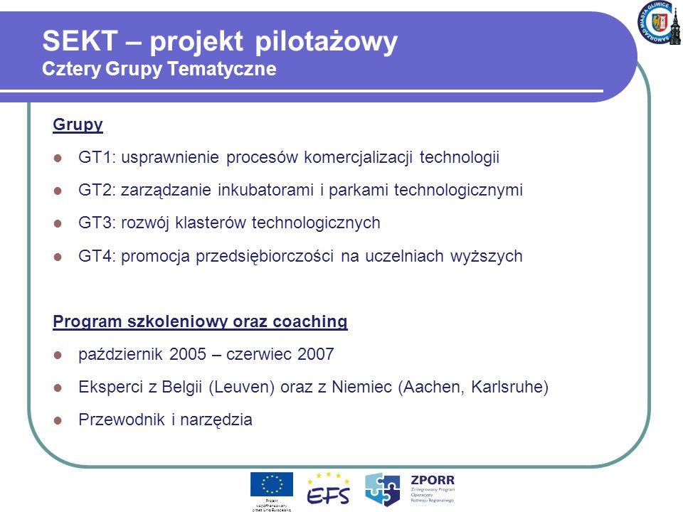 SEKT – projekt pilotażowy Cztery Grupy Tematyczne Grupy GT1: usprawnienie procesów komercjalizacji technologii GT2: zarządzanie inkubatorami i parkami technologicznymi GT3: rozwój klasterów technologicznych GT4: promocja przedsiębiorczości na uczelniach wyższych Program szkoleniowy oraz coaching październik 2005 – czerwiec 2007 Eksperci z Belgii (Leuven) oraz z Niemiec (Aachen, Karlsruhe) Przewodnik i narzędzia Projekt współfinansowany przez Unię Europejską