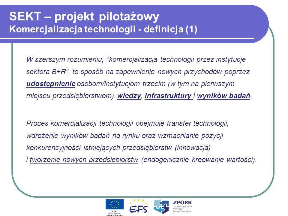 SEKT – projekt pilotażowy Komercjalizacja technologii - definicja (1) W szerszym rozumieniu, komercjalizacja technologii przez instytucje sektora B+R,