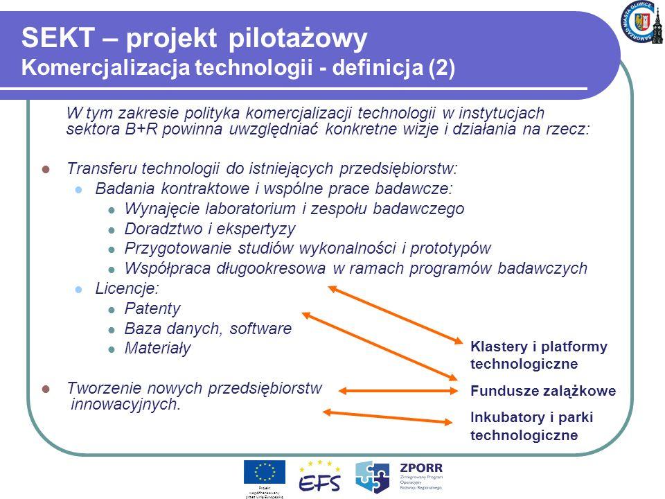 SEKT – projekt pilotażowy Komercjalizacja technologii - definicja (2) W tym zakresie polityka komercjalizacji technologii w instytucjach sektora B+R p