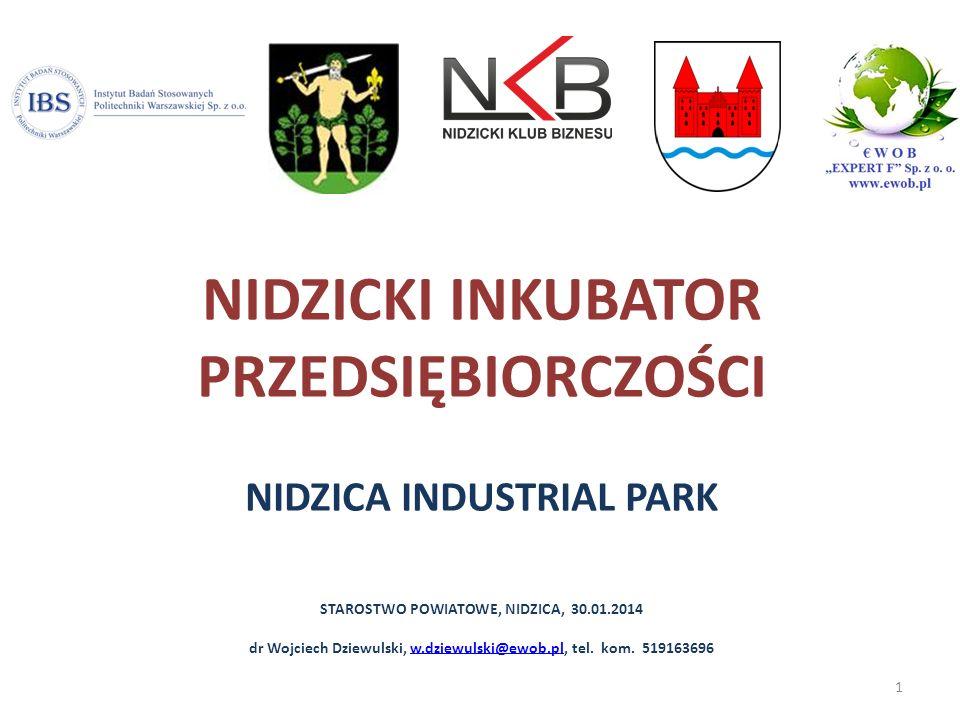 NIDZICKI INKUBATOR PRZEDSIĘBIORCZOŚCI NIDZICA INDUSTRIAL PARK STAROSTWO POWIATOWE, NIDZICA, 30.01.2014 dr Wojciech Dziewulski, w.dziewulski@ewob.pl, t