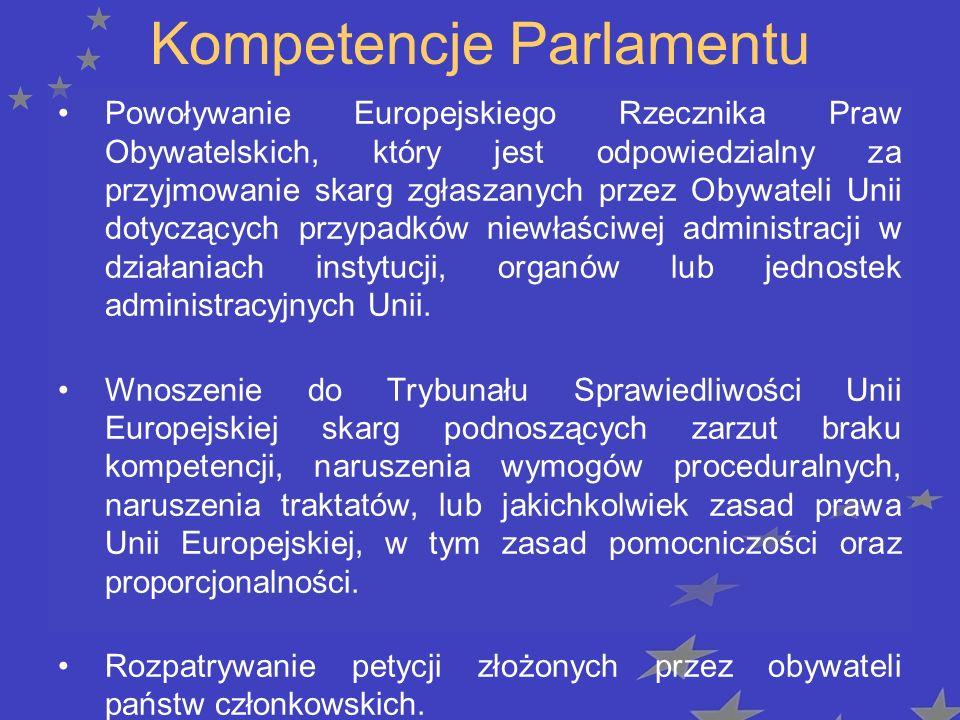 Kompetencje Parlamentu Powoływanie Europejskiego Rzecznika Praw Obywatelskich, który jest odpowiedzialny za przyjmowanie skarg zgłaszanych przez Obywateli Unii dotyczących przypadków niewłaściwej administracji w działaniach instytucji, organów lub jednostek administracyjnych Unii.