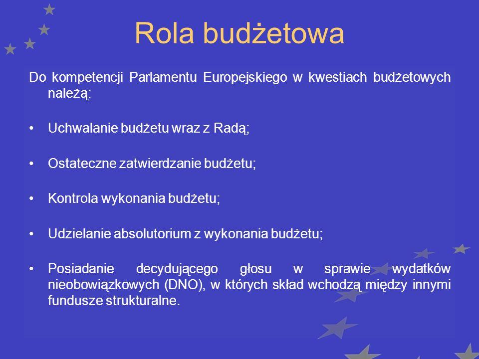 Rola budżetowa Do kompetencji Parlamentu Europejskiego w kwestiach budżetowych należą: Uchwalanie budżetu wraz z Radą; Ostateczne zatwierdzanie budżetu; Kontrola wykonania budżetu; Udzielanie absolutorium z wykonania budżetu; Posiadanie decydującego głosu w sprawie wydatków nieobowiązkowych (DNO), w których skład wchodzą między innymi fundusze strukturalne.