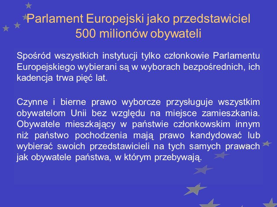 Parlament Europejski jako przedstawiciel 500 milionów obywateli Spośród wszystkich instytucji tylko członkowie Parlamentu Europejskiego wybierani są w wyborach bezpośrednich, ich kadencja trwa pięć lat.