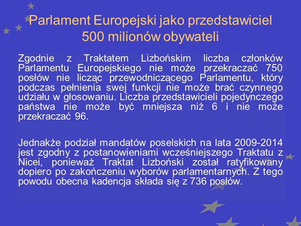 Podział miejsc w PE w zależności od państwa Kraj Liczba miejsc po Traktacie Nicejskim Liczba miejsc po Traktacie w Lizbonie Malta56 Cypr66 Estonia66 Luksemburg66 Słowenia78 Łotwa89 Irlandia12 Litwa12 Dania13 Irlandia13 Słowacja13 Bułgaria1718 Austria1719