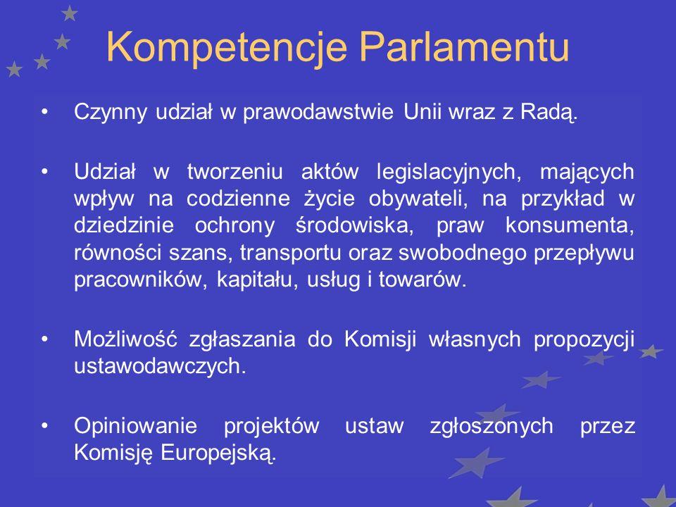 Kompetencje Parlamentu Uchwalanie budżetu Unii wraz z Radą.
