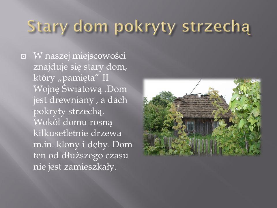 W naszej miejscowości znajduje się stary dom, który pamięta II Wojnę Światową.Dom jest drewniany, a dach pokryty strzechą.
