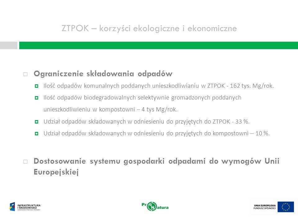 ZTPOK – korzyści ekologiczne i ekonomiczne Uniknięcie wielomilionowych kar za niedostosowanie do unijnych wymogów w zakresie składowania odpadów Szacunkowe wysokości kar przy zaniechaniu realizacji Projektu Budowa ZTPOK dla BTOM, Lp.