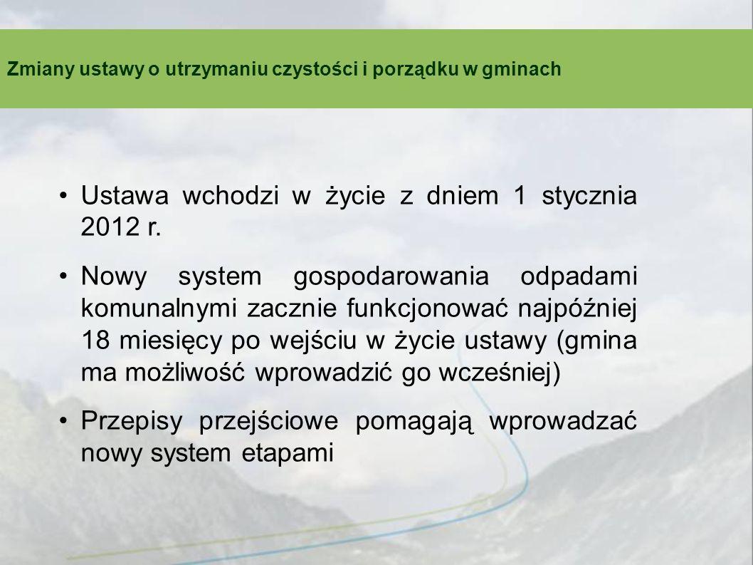 Ustawa wchodzi w życie z dniem 1 stycznia 2012 r. Nowy system gospodarowania odpadami komunalnymi zacznie funkcjonować najpóźniej 18 miesięcy po wejśc