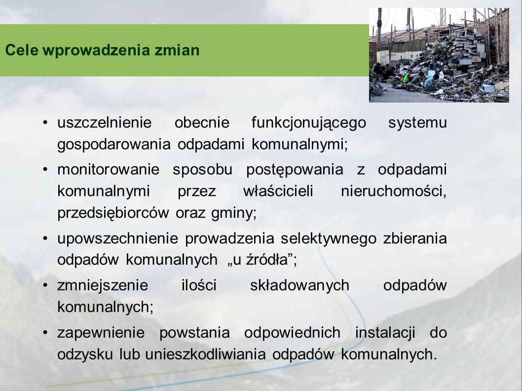 Obecny system gospodarowania odpadami komunalnymi Właściciel nieruchomości Przedsiębiorca odbierający odpady Instalacja odzysku/ unieszkodliwiania Odpady GMINA Opłata Umowa Decyzja