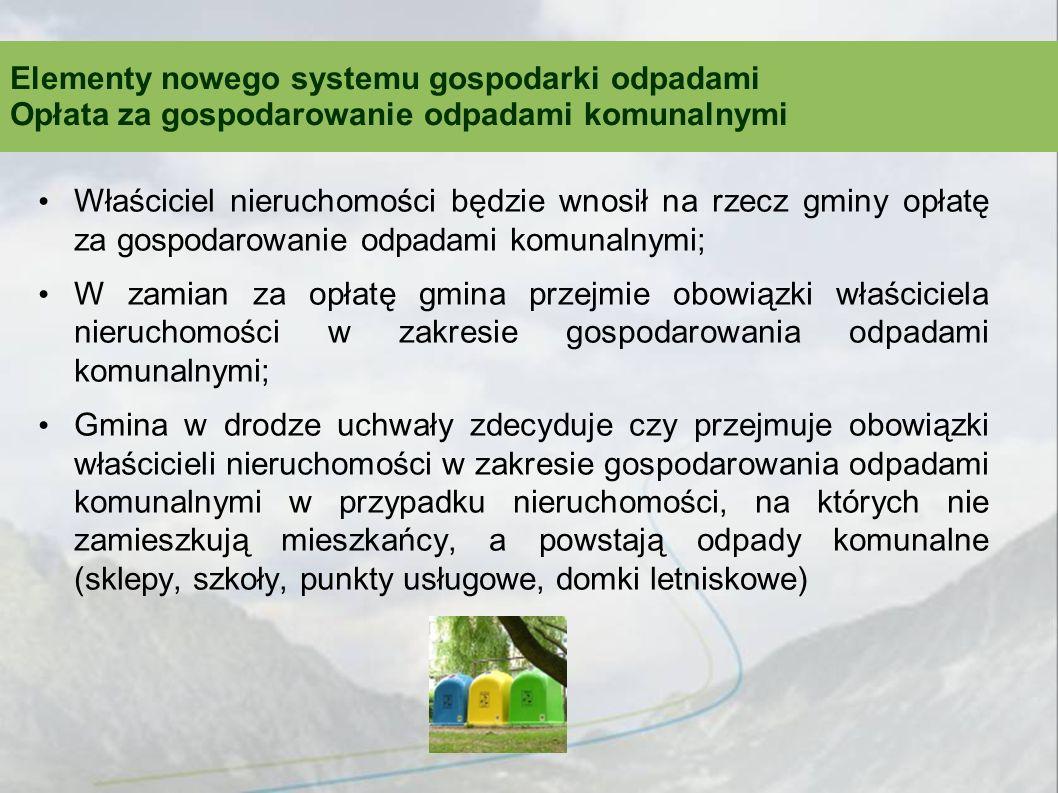 Właściciel nieruchomości będzie wnosił na rzecz gminy opłatę za gospodarowanie odpadami komunalnymi; W zamian za opłatę gmina przejmie obowiązki właśc