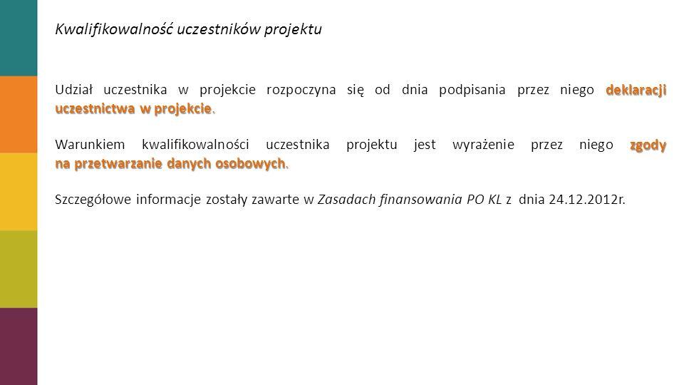 Kwalifikowalność uczestników projektu deklaracji uczestnictwa w projekcie.