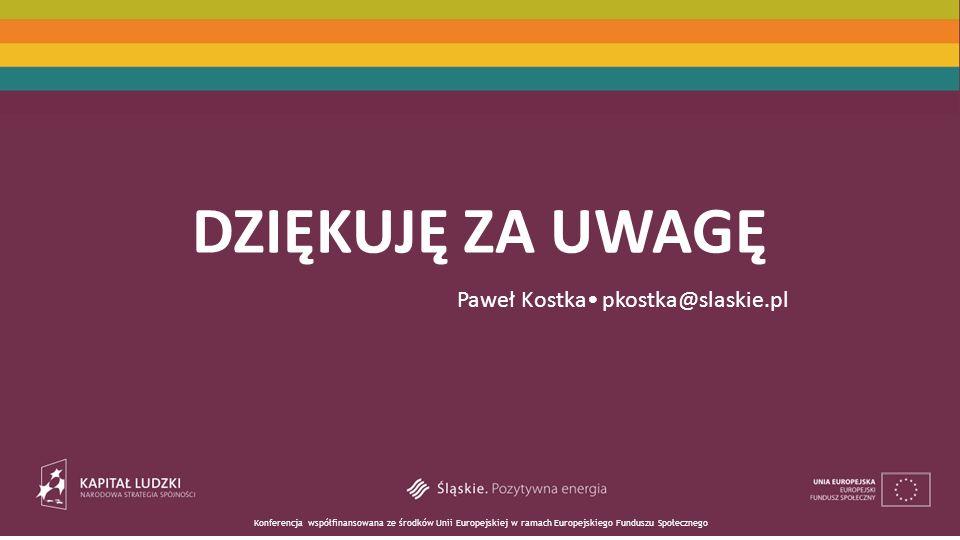 Konferencja współfinansowana ze środków Unii Europejskiej w ramach Europejskiego Funduszu Społecznego DZIĘKUJĘ ZA UWAGĘ Paweł Kostka pkostka@slaskie.pl