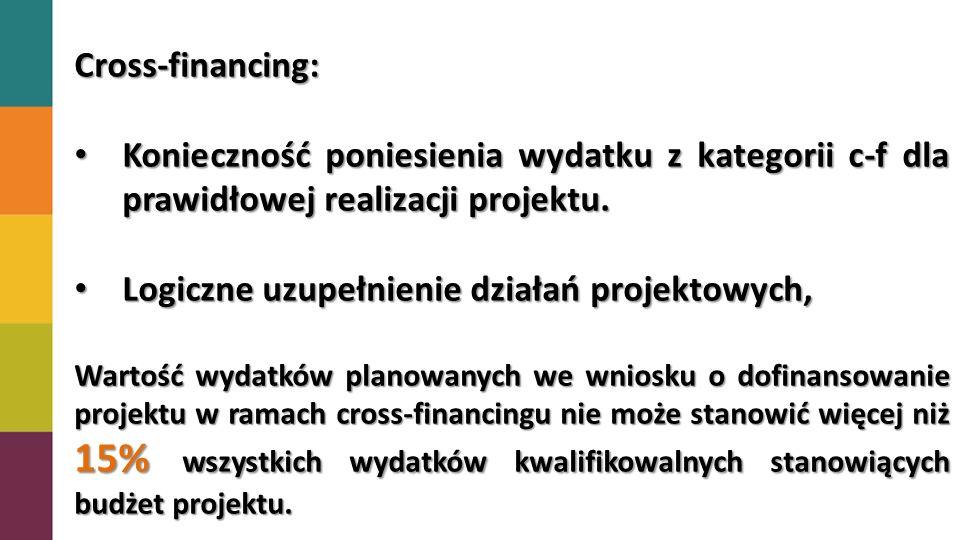 Cross-financing: zakup oraz leasing (finansowy i zwrotny) pojazdów oraz mebli bez względu na ich wartość; równa lub wyższa od 350 zł zakup oraz leasing (finansowy lub zwrotny) sprzętu rozumianego jako: środki trwałe, z wyłączeniem pojazdów i mebli, którego wartość początkowa (jednostkowa) jest równa lub wyższa od 350 zł ; równa lub wyższa od 350 zł przekazania uczestnikom projektu, zakup oraz leasing (finansowy i zwrotny) sprzętu, którego wartość początkowa (jednostkowa) jest równa lub wyższa od 350 zł, celem jego przekazania uczestnikom projektu, Koszty dostosowywania i/lub adaptacji budynków, pomieszczeń i miejsc pracy (ale nie remontu).