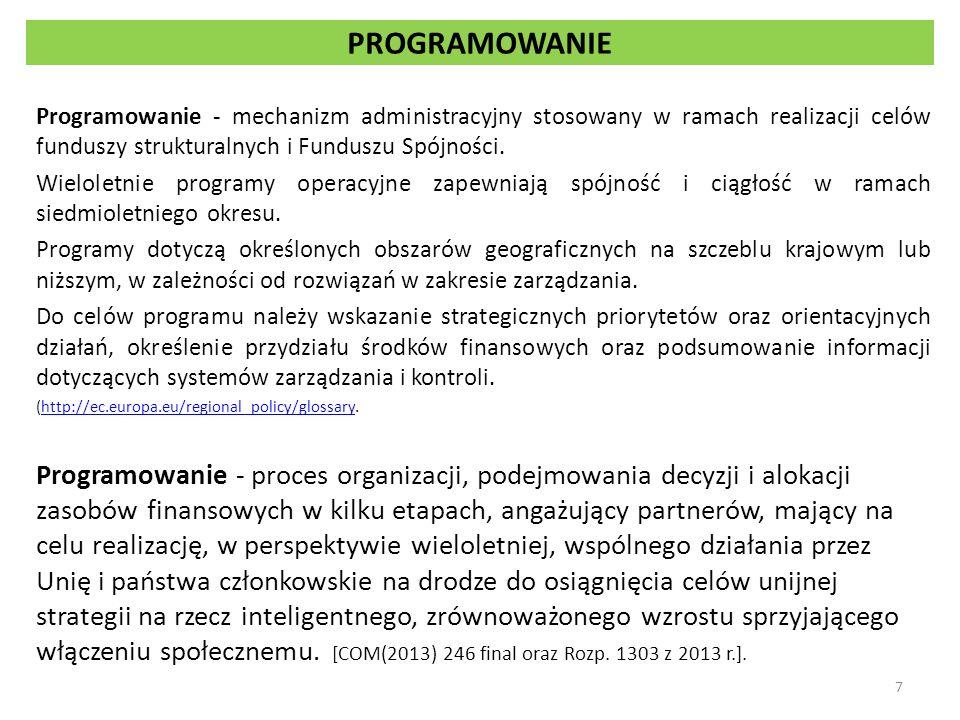 Przygotowanie programów 1.EFSI wdrażane są w ramach programów zgodnie z umową partnerstwa.