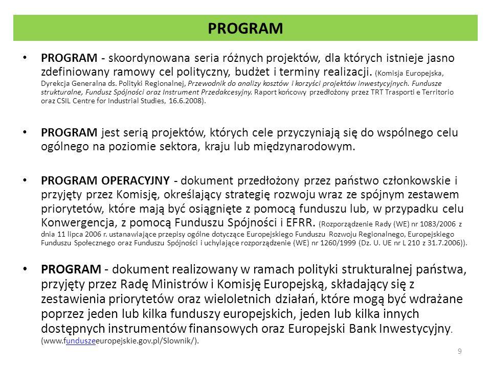 Podstawowe elementy programu operacyjnego Priorytet lub oś priorytetowa - jeden z priorytetów strategii, zawarty w programie operacyjnym, obejmujący grupę powiązanych ze sobą operacji posiadających określone mierzalne cele; priorytet = oś priorytetowa w przypadku EFRR, EFS i Funduszu Spójności, priorytet = priorytet Unii - w przypadku EFMR i EFRROW.