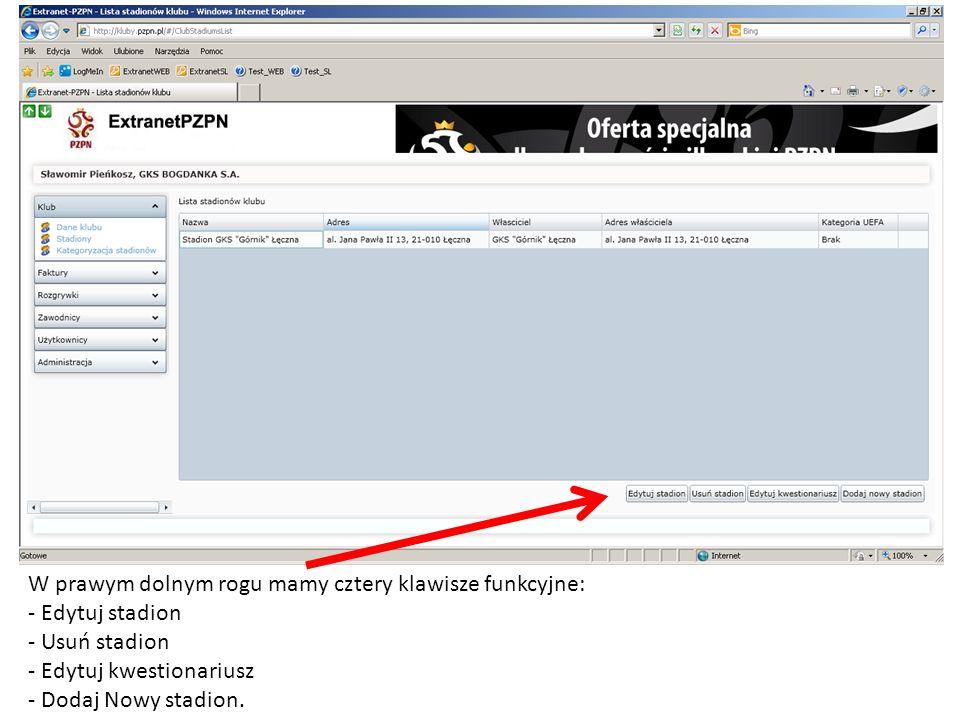 Kliknięcie przycisku Dodaj nowy stadion otworzy poniższe okno, w którym należy uzupełnić dane stadionu i dane właściciela.