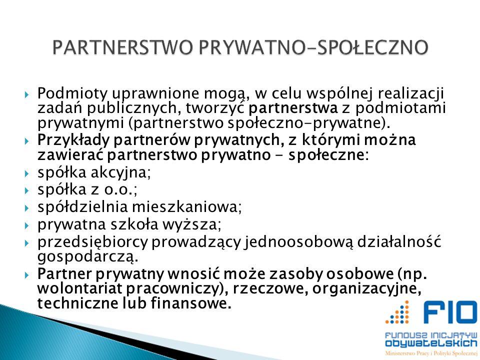 Podmioty uprawnione mogą, w celu wspólnej realizacji zadań publicznych, tworzyć partnerstwa z podmiotami prywatnymi (partnerstwo społeczno-prywatne).