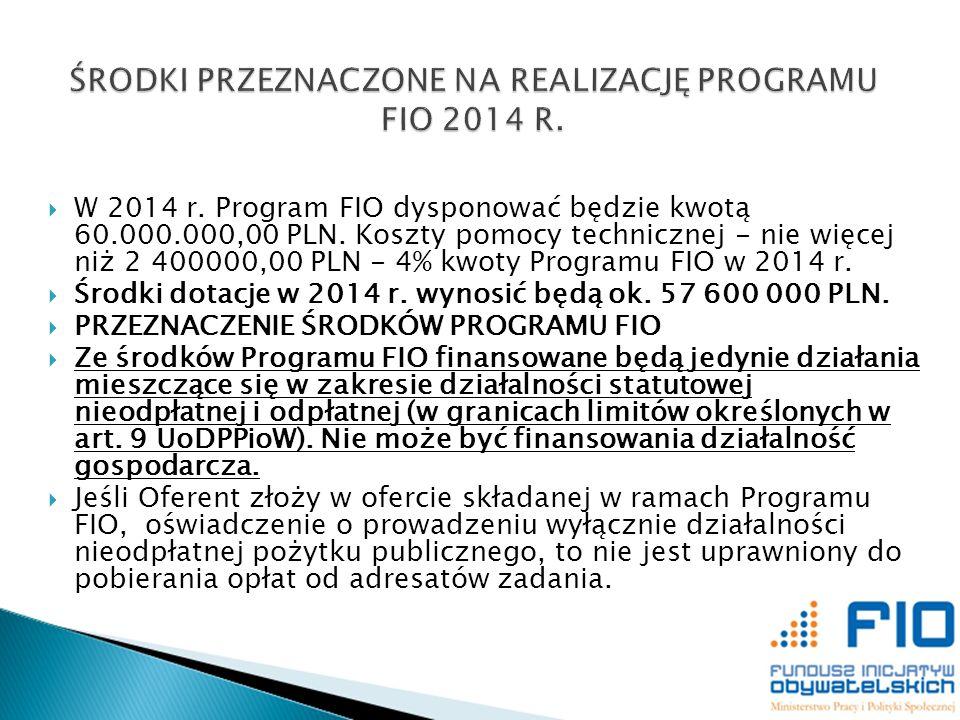 W 2014 r. Program FIO dysponować będzie kwotą 60.000.000,00 PLN. Koszty pomocy technicznej - nie więcej niż 2 400000,00 PLN - 4% kwoty Programu FIO w