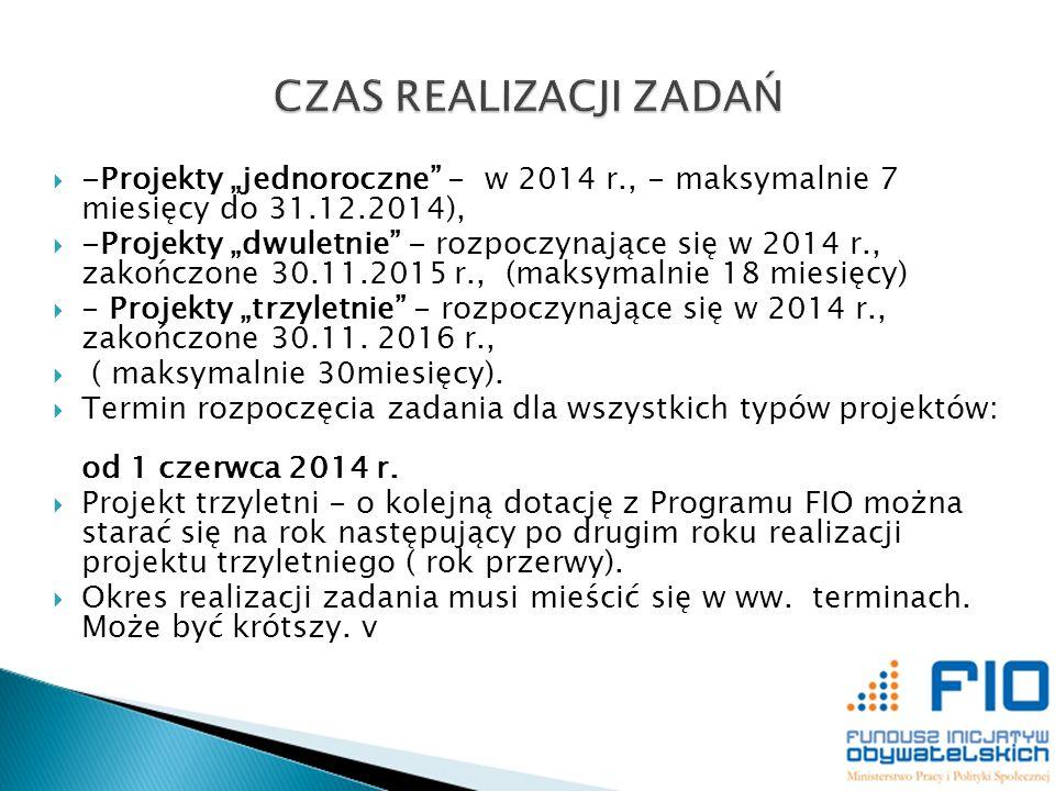 -Projekty jednoroczne - w 2014 r., - maksymalnie 7 miesięcy do 31.12.2014), -Projekty dwuletnie - rozpoczynające się w 2014 r., zakończone 30.11.2015