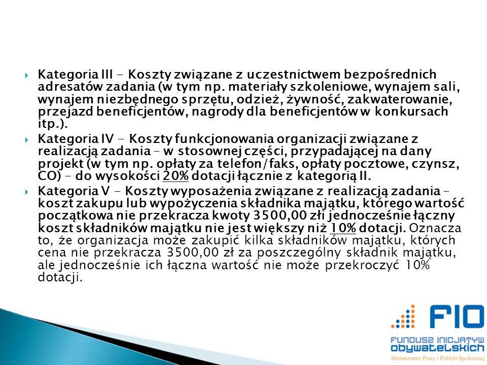 Kategoria III - Koszty związane z uczestnictwem bezpośrednich adresatów zadania (w tym np. materiały szkoleniowe, wynajem sali, wynajem niezbędnego sp