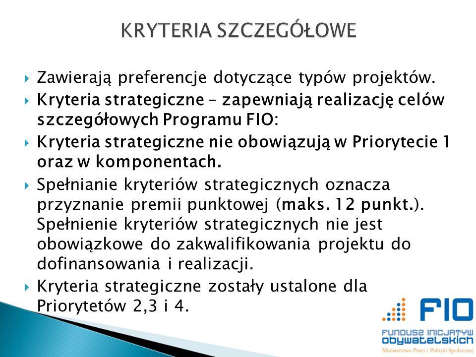 Zawierają preferencje dotyczące typów projektów. Kryteria strategiczne – zapewniają realizację celów szczegółowych Programu FIO: Kryteria strategiczne